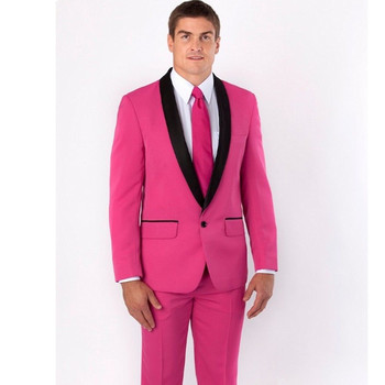 costume mariage homme New Groom Tuxedos Pink Groomsmen Best Man Wedding Suits Prom Suits Jacket+Pants