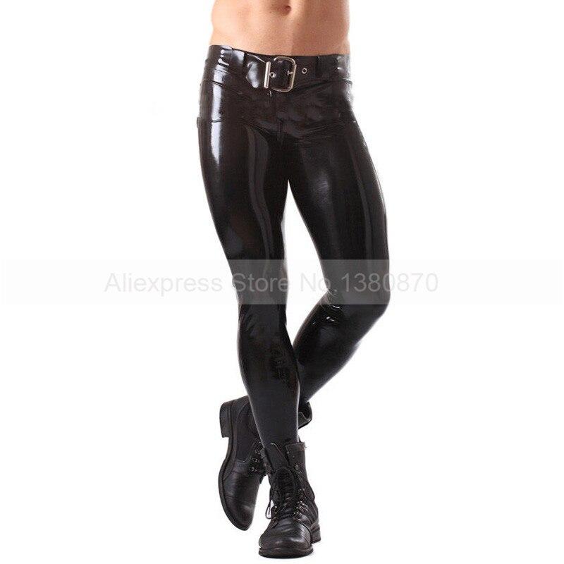 Solide Noir Mâle Caoutchouc Latex Pantalon Homme Sexy Pantalon avec Ceinture S-LTM013