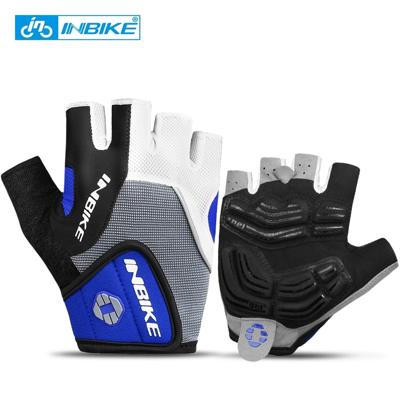 INBIKE Summer Men Cycling Gloves Half Finger Polyester Road MTB Bike Gloves Breathable Sports Bicycle Gloves