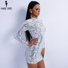 Missord 2019  Sexy High Neck Long Sleeve Sequin Elegant Party Reflective Dress  FT8793