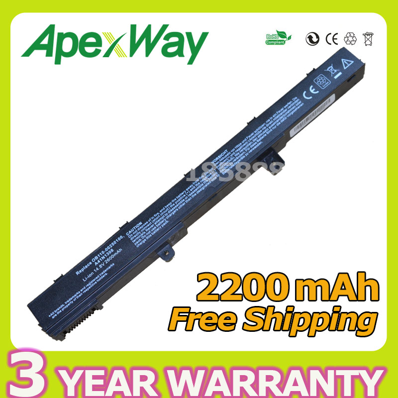 Apexway laptop battery For Asus X551C X551CA X551M X451CA X551CA X551CA A41N1308 A31N1319 0B110-00250100M X45LI9C YU12008-13007D