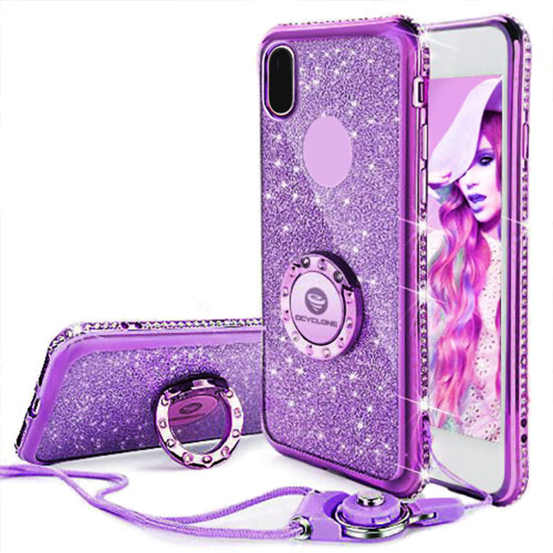 best service 9976b e937f US $10.8 |For IPhone 7 Case Ring Purple Bling Cover For Iphone X 6 6s 7  plus Diamond Case I8 Glitter Cover For Iphone 8 plus Case Ring Red-in ...