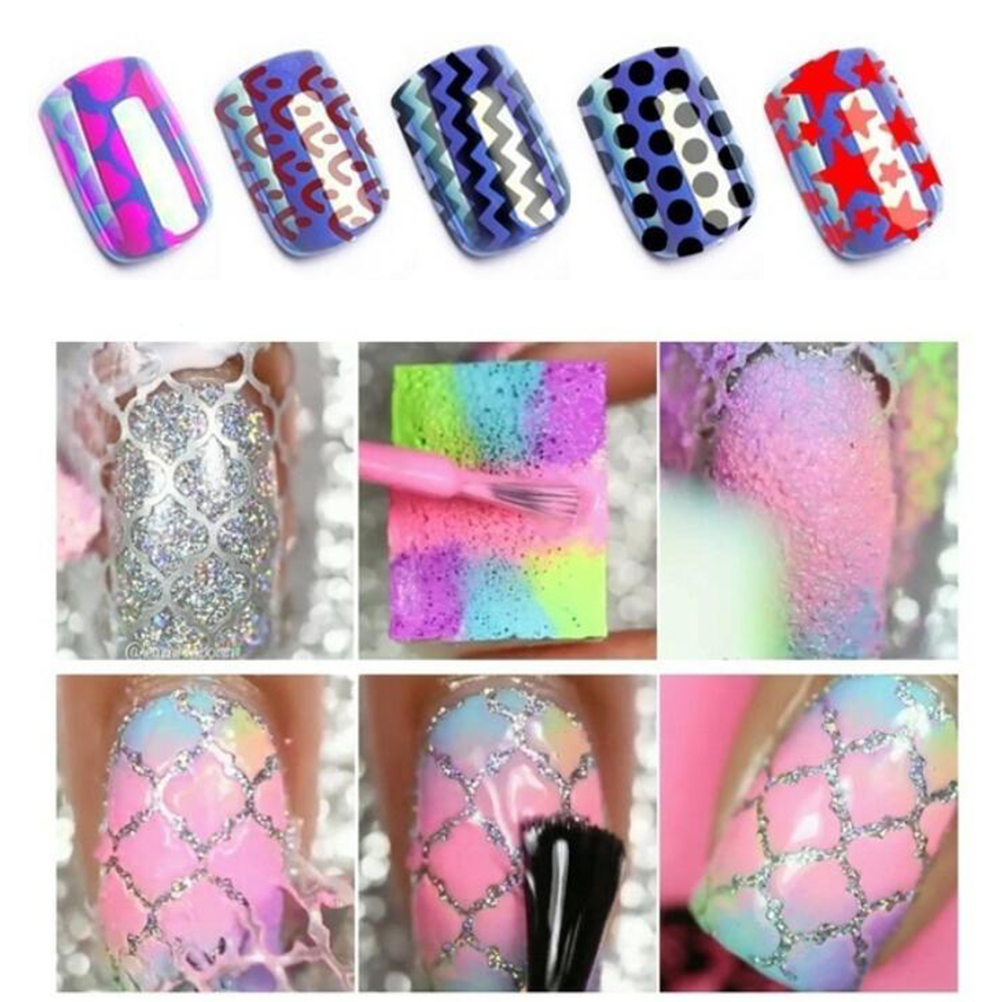 Image 3 - 24 Sheets DIY Nails Stamping Template Nail Stickers Irregular Grid Stencil Reusable Nail Art Vinyls Hollow Stickers NailStickers-in Stickers & Decals from Beauty & Health