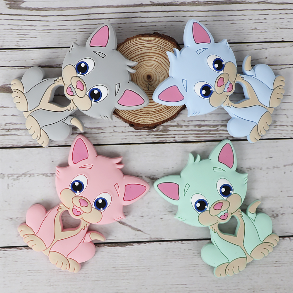 TYRY,HU 5PC Kitten BABY Silicone Teether DIY Teething Chain Baby BPA FREE  Animal Chewing Rodent Cat Pendan Nursing Infant Toy
