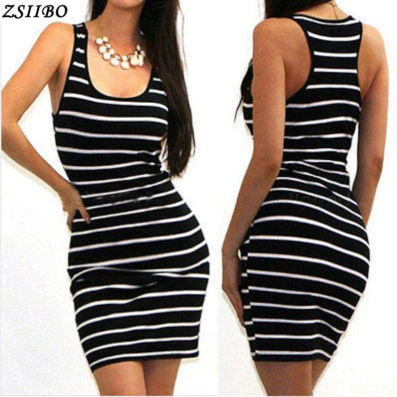 2018 Casual Women Striped Bandage Bodycon Dress Sexy Slim Sleeveless Evening Party Mini Dress(China)