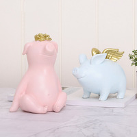 Pig Piggy Bank Creative Home Cartoon Pig Year Piggy Bank Resin Decoration Decoration c