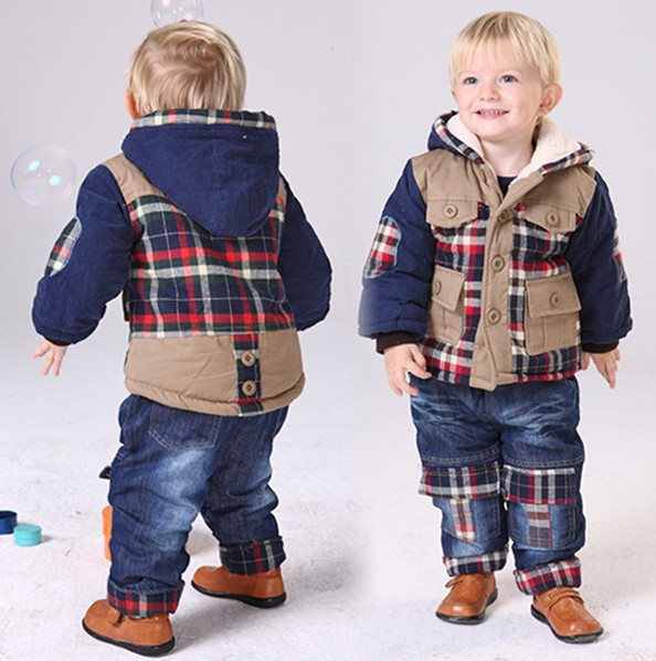 0-3Y baby boy plaid patchwork cotton-padded thicken warm lamb wool clothing sets kids clothes sets winter baby clothing sets new 2017 winter baby boy cotton padded thicken warm fleece inside clothing sets 2pcs coat jeans kids clothes sets