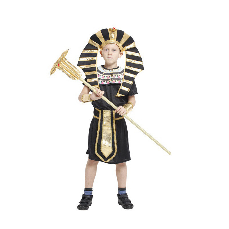 Egyptian King Tut Halloween Costumes Kids Fancy Children Party Dress Black Yellow Halloween Costume For Kids