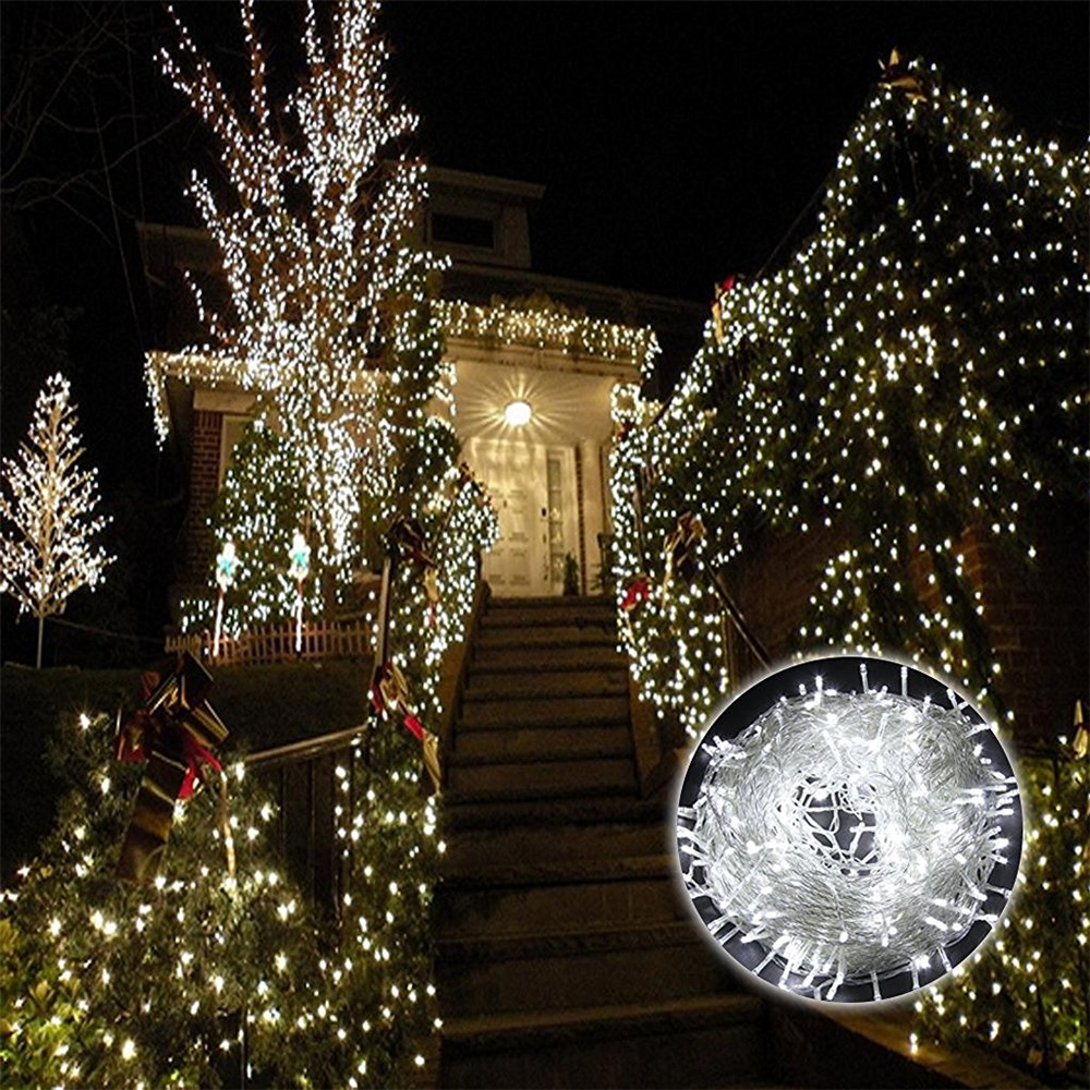 Kmashi 220V EU 100M 600 LED Garland LED Christmas Lights Decoration Wedding Lamp Party Twinkle String Lights Fairy Warm White hat winter thick stickers letter knitted hat wool hat korean embroidery warm hats tide men and women