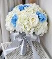 2015 букет невесты ручной искусственные цветы свадебные цветы синий белая роза свадебный букет
