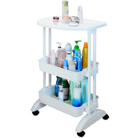 3 Layers Bathroom Toiletries Organization shelf PP Food Vegetable Storage White Table Cart Bedside Table Cart on Wheels DQ1512 3