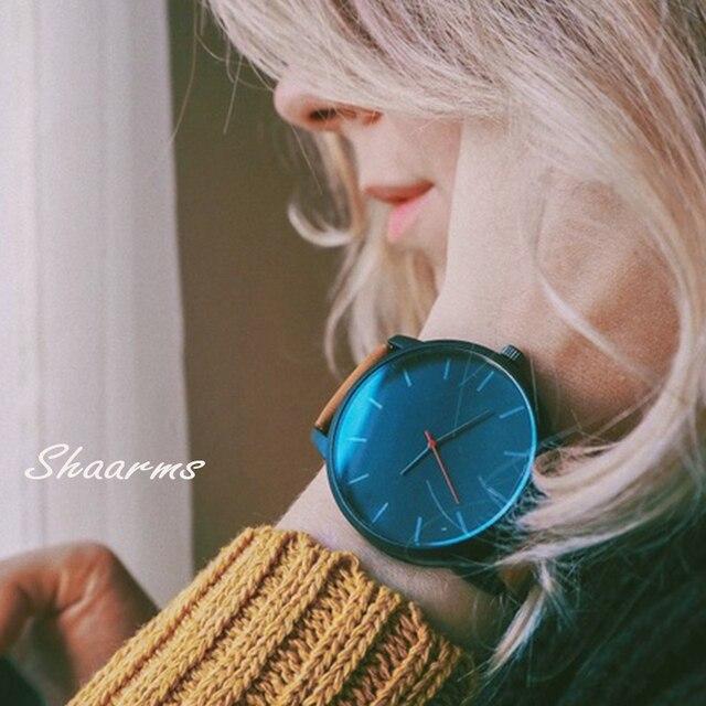 SHAARMS Simple Quartz Causal Watch Women Men Leather Watch Mltiple Colour Case A