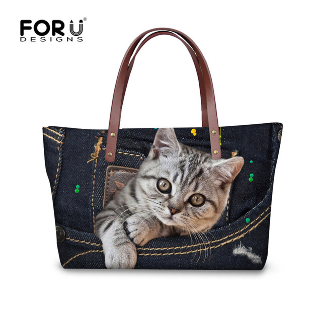 FORUDESIGNS Tote Bag Luxury Handbags Women Bags Designer 3D Cat Pug Black Jeans  Denim Shoulder Bags for Women Handbag Girls 9c6437357b7bb