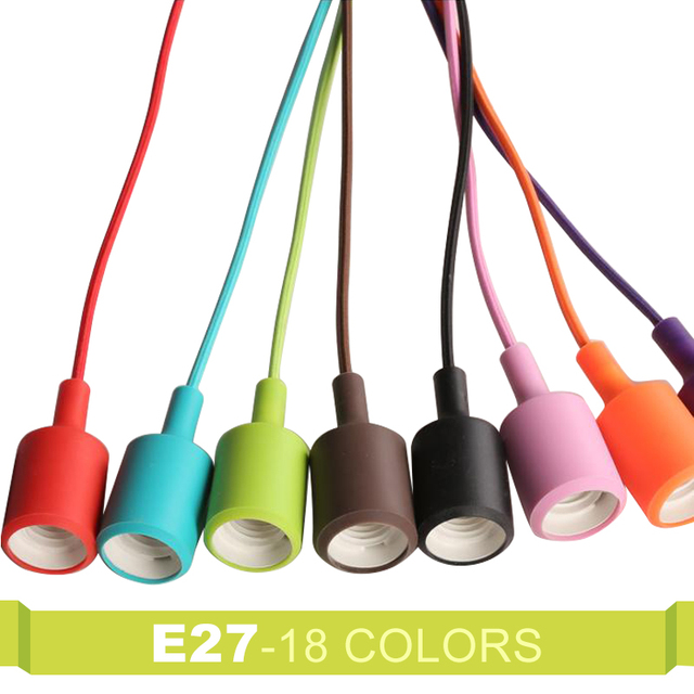Colorful Edison Modern Pendant Lights Vintage Silicone Bulb Socket Suspension Light E27 Drop Lighting Creative DIY Lamp Holder