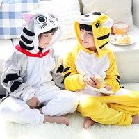 Yellow Tiger Cartoon Design Animal Cosplay Pajamas For Kids Unisex Flannel Sleepwears Animal Themed Costumes Hooded