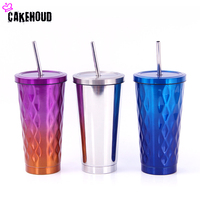 473ml Stainless Steel Profiled Straw Cup Double Layer Gradient Color Insulation Cup Large Ice Cubes Shaped