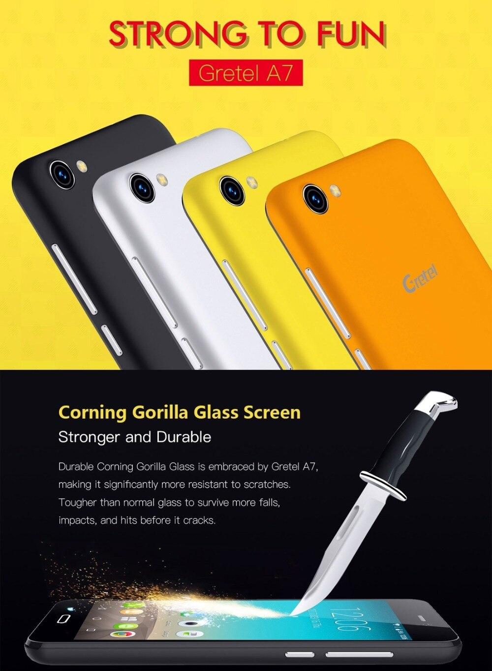 Gretel A7 4.7 ''Teléfono Móvil MTK6580 Quad A Core Android 6.0 1 GB RAM 16 GB ROM 1280x720 2000 mah Batería 3G WCDMA Smartphone GPS