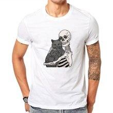 New Best Friends Skulls & Cat T Shirt Homme Shorts Sleeve Male Shirt O-neck Mans T-shirt Summer Tshirt 2019 Ropa Hombre De Marca