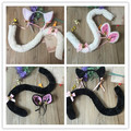 2017 Cosplay Halloween  Party Anime cos Costume Cat Fox Ears Clip Hairpin headwear Party Ball Club Ears + tail