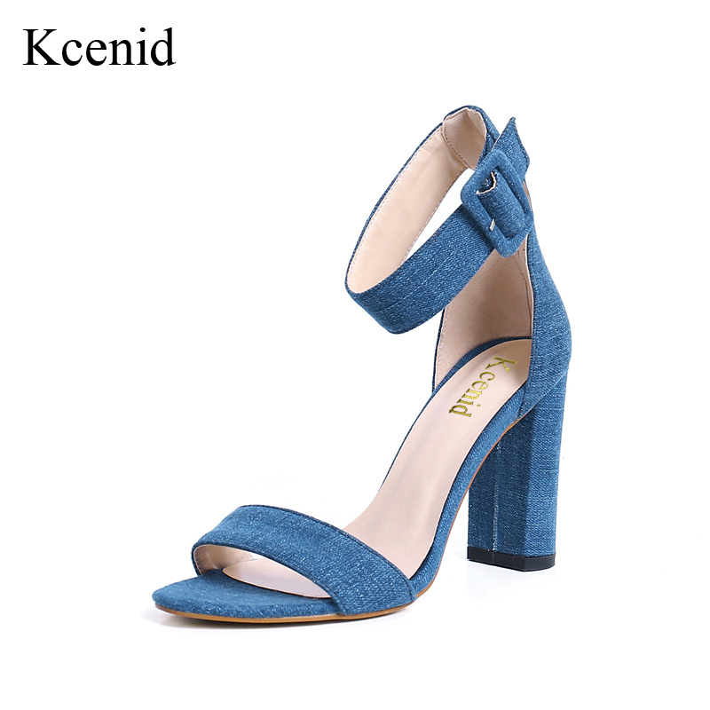 Kcenid Women sandals 2018 fashion open toe ankle buckle strap denim shoes woman high heels party