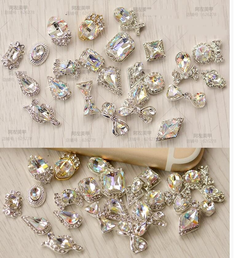 10pcs 3074-3093 20DESIGNS CHOICE CLEAR RHINESTONES NAIL ART DECORATION 3D CHARM ALLOY SILVER GEMS JEWELLERY