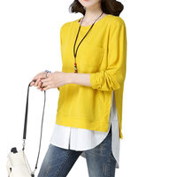 tshirt Women Spring Clothes Big Size Women Shirt Jackets Korean Loose Round Neck Shirt Long Female Long Sleeve Casual Tops f121