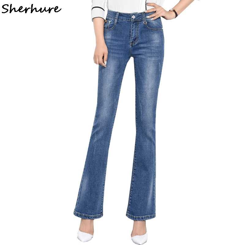 12e20ddc41a 2018 New Plus Size 6XL Flared Jeans Woman Bell Bottom Jeans Skinny Denim Pants  Stretch High