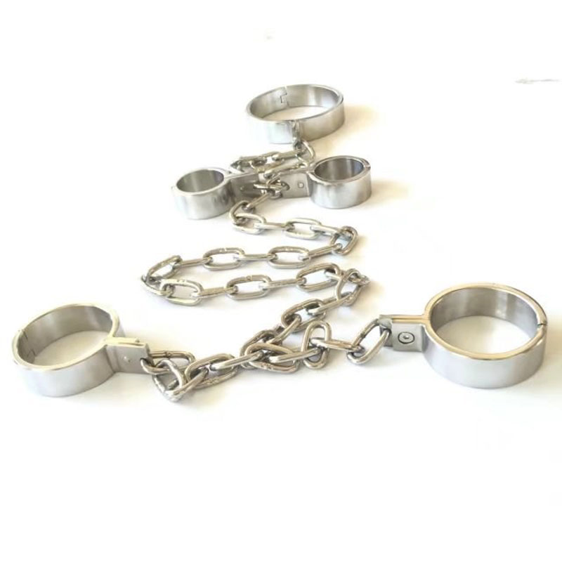 Metal Stainless Steel Slave BDSM Bondage Tools Neck Collar Hand Ankle Cuffs Sex Games Handcuffs Leg Irons Toys For Adults leather metal bondage harness hand ankle cuffs leg irons bdsm slave wirst restraints shackles handcuffs legcuffs sex games toys