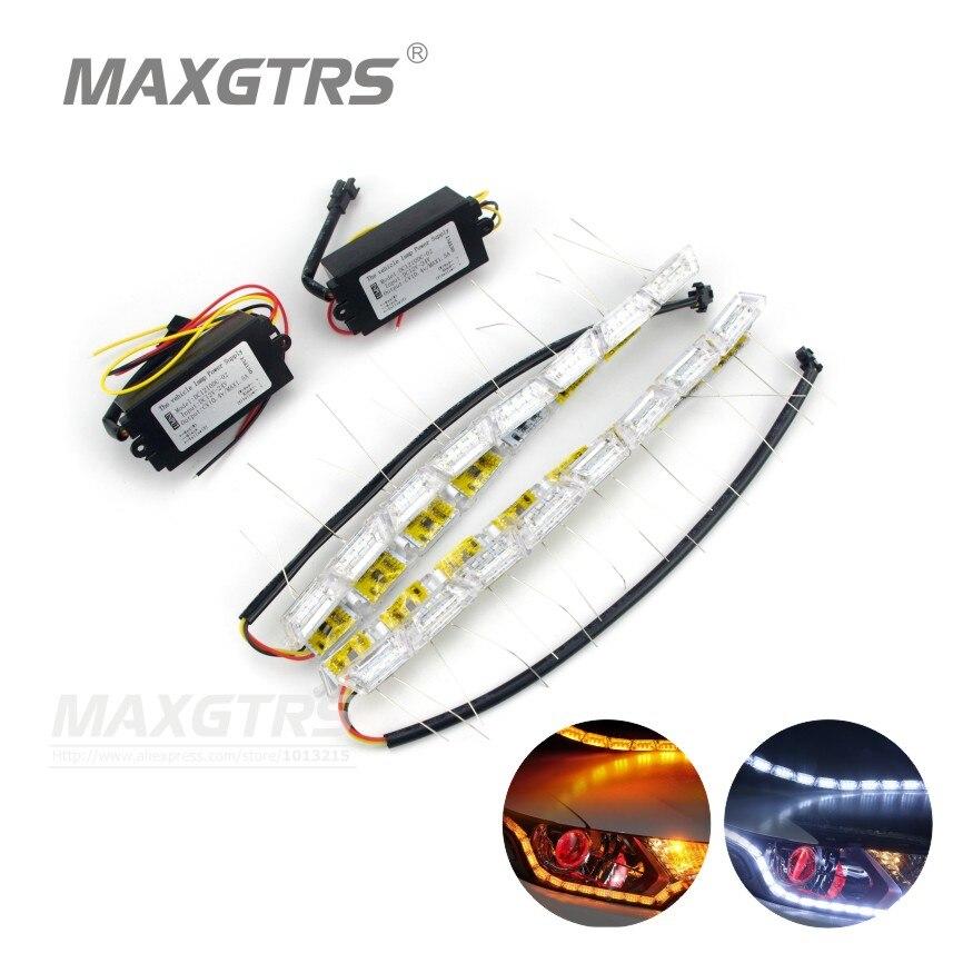 2x Car Flessibile Bianco/Ambra Switchback LED Knight Rider Luce di Striscia per il Faro Sequenziale Lampeggiatore Dual Color DRL Turno segnale