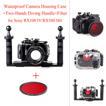 40m/130ft Waterproof Camera Housing Case for Sony RX100 IV/RX100 M4,Underwater Camera Bags Case +Two-Hands Diving Handle+Filter