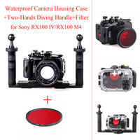 40m/130ft Waterproof Camera Housing Case for Sony RX100 IV/RX100 M4,Underwater Camera Bags Case +Two Hands Diving Handle+Filter