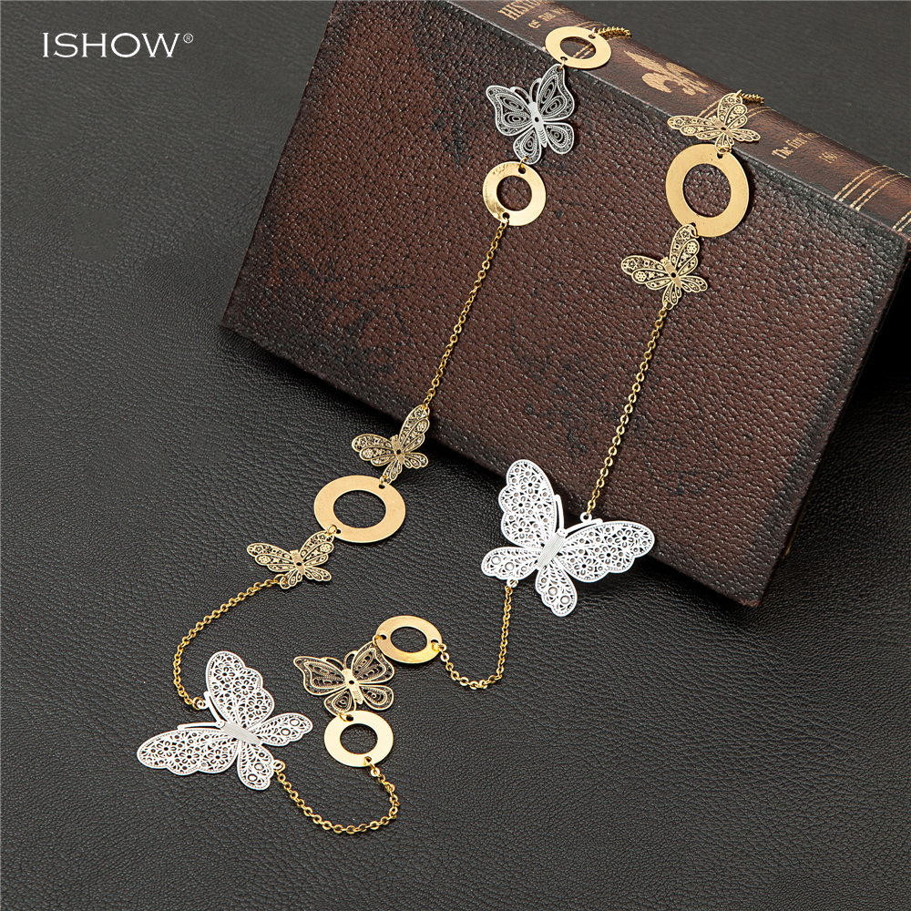 Fashion bijoux ancient gold silver chain necklaces butterfly hollow out pendants choker long necklace collares largos collier