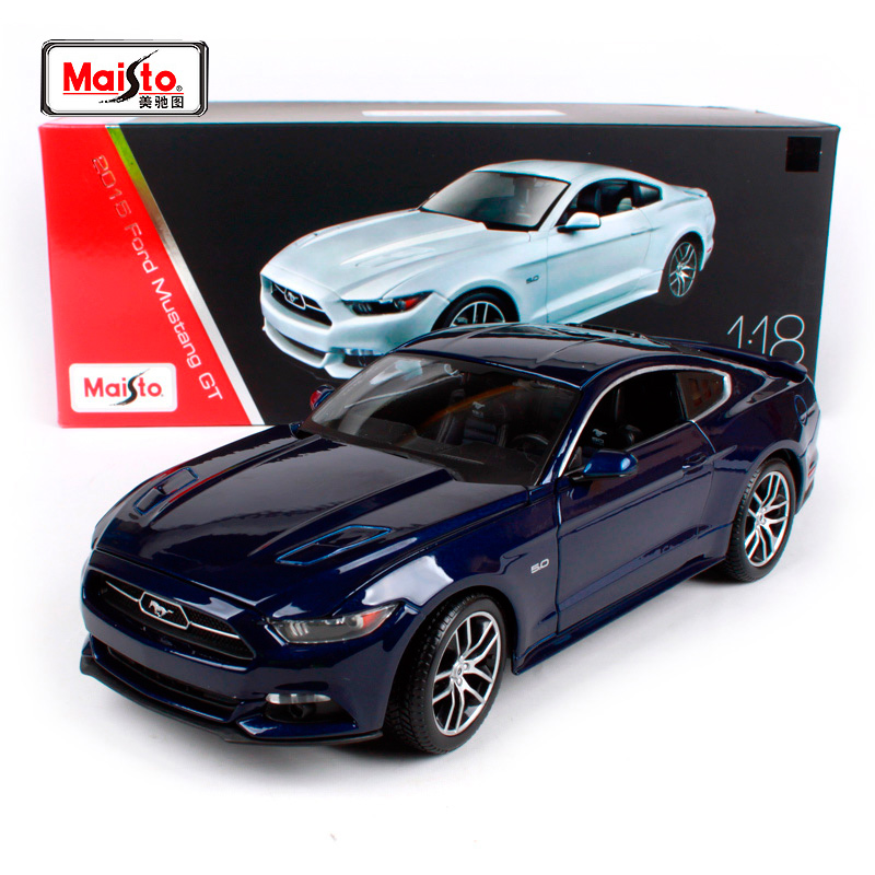 Maisto 1 18 2015 Ford Mustang GT Sports Car Hardback Blue White Diecast Model Car Toy