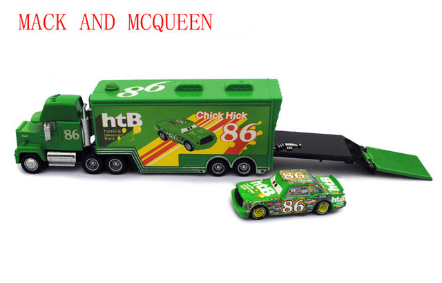 Free Shipping Brand New Pixar Cars 2 Toys HTB #86 Hauler With Chick Hicks Car Diecast Pixar Cars Toy Loose In Stock