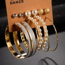 DANZE 6 пар/компл. имитации жемчуга бисером большой круг обруч серьги Для женщин маленькие серьги Свадебная вечеринка brincos, можно носить с ювелирных изделий и кристаллом сиреневого цвета