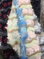 New 2018 Fashion Trend 3D Stereo Flower Applique Tassel Mesh Fabric Heavy Embroidery Lace Fabric DesigN