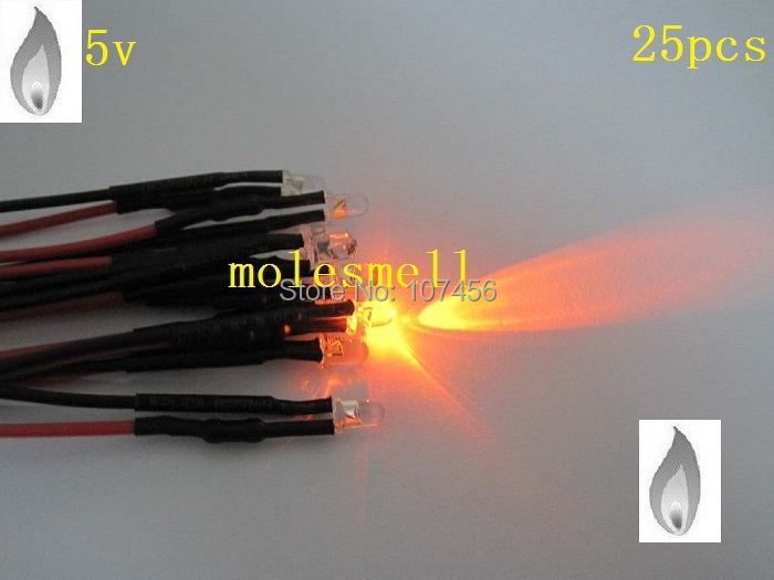 Free Shipping 25pcs 3mm Orange Flicker 5V Pre-Wired Water Clear LED Leds Candle Orange Light 20CM