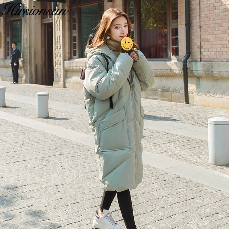 Hirsionsan Winter Jackets Women 2017 Sweet Down Cotton Parkas Casual Hooded Long Coat Thickening Zipper Loose Warm Long Parka 2017 ukraine exclusive custom winter coat magic cloth dolls and original sweet bunny ears hooded casual loose lovely cotton