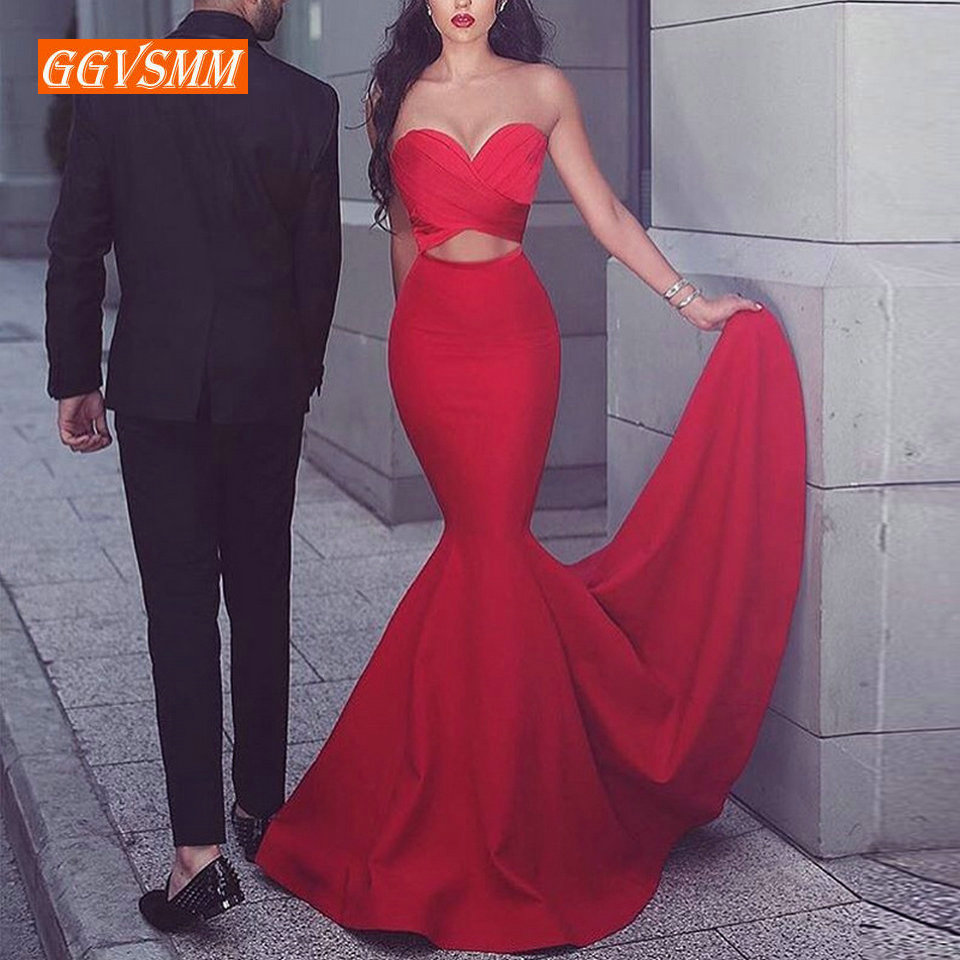 Fashion Slim Fit Red Mermaid Long   Evening     Dresses   2019   Evening   Gowns Sweetheart Zipper Banquet Slim Fit Women Party Formal   Dress