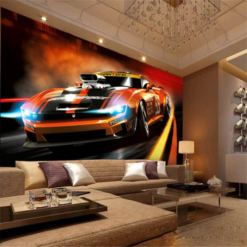 custom 3d photo mural wallpaper tv background wallpaper bedding room dynamic sports car 3d non-woven wallpapers home decor