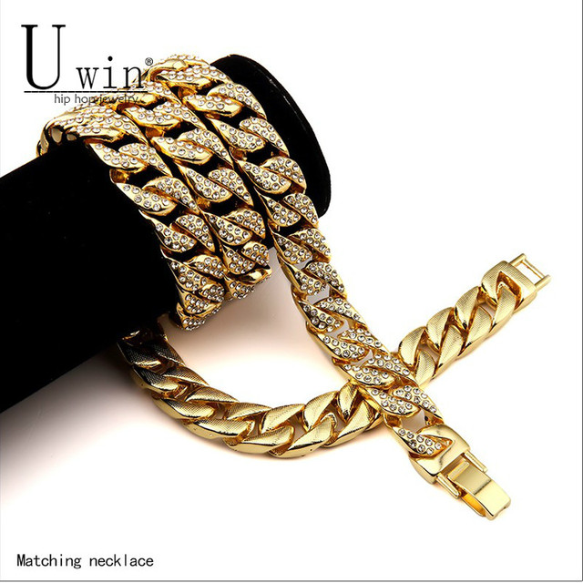 UWIN 15mm Iced Out Men's Miami Cuban Link Chain Necklace Gold Silver Bling Fully Rhinestone Hip Hop Necklace Jewelry 30inch