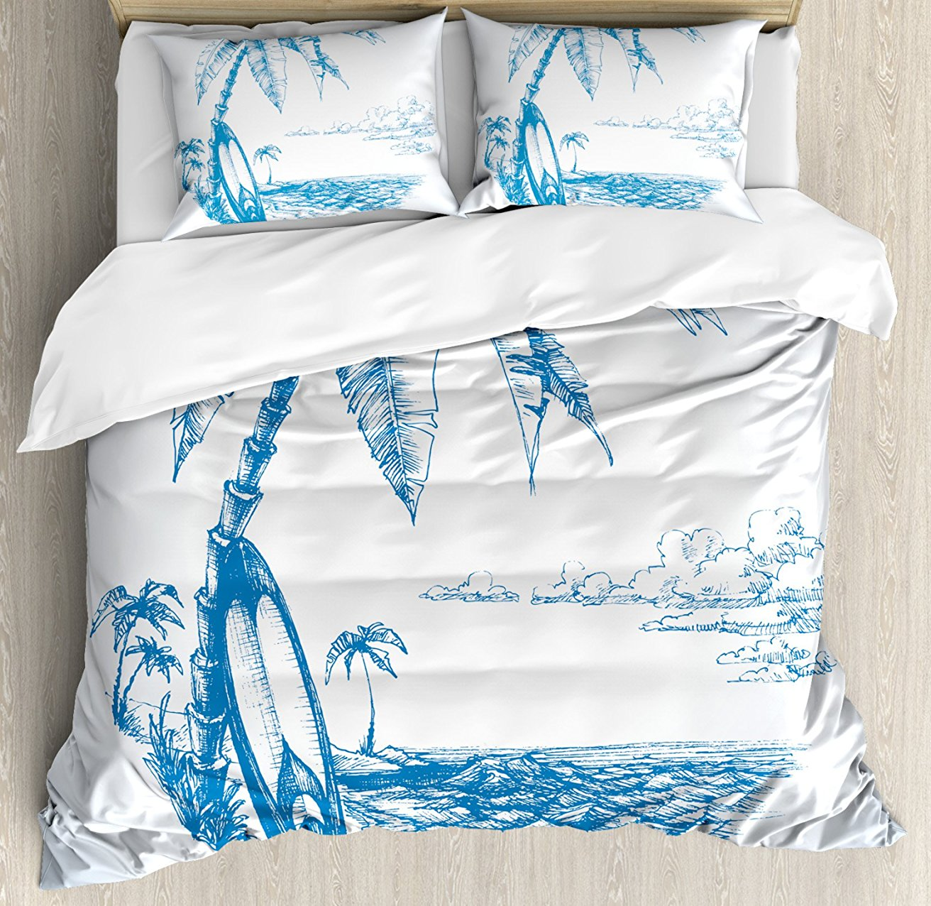 Home & Garden Home Textile Tropical Duvet Cover Set Modern Illustration Of A Tropical Beach With Palm Trees And Hammock Hawaiian Relax 4 Piece Bedding Set