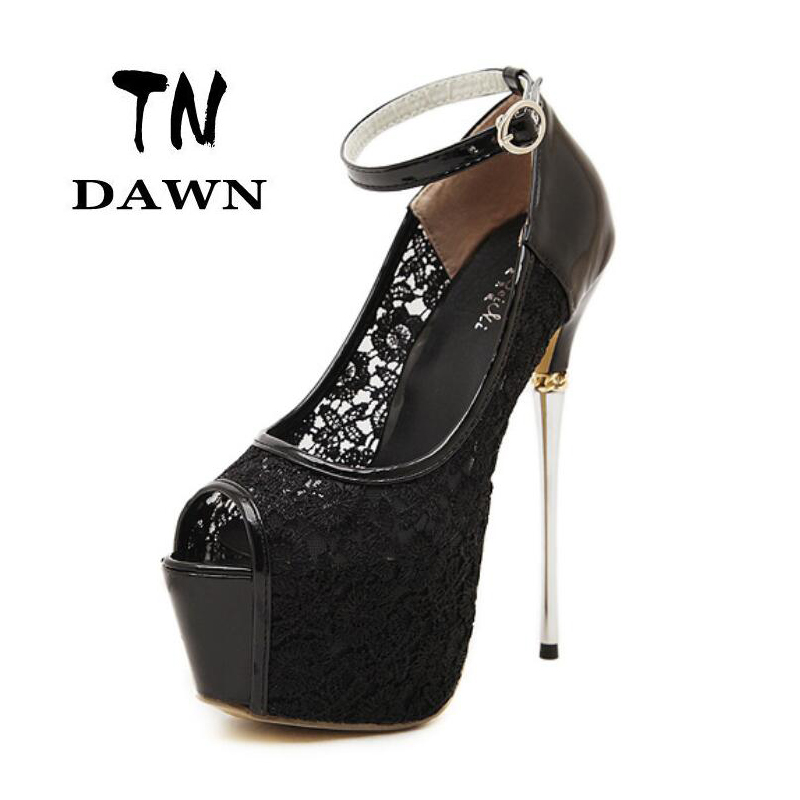 New Style Sexy Lace Super High Heels Peep Top Open Toe Platform Thin Pumps Sandal Stilettos Fashion Sweet Party Wedding Shoes 2017 sweet ladies peep toe women ankle boots sexy lace super high thin heels women pumps solid zipper female party wedding shoes