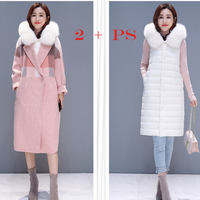 winter Wool Coat Women +Hooded Down cotton jacket Fur collar Coat Long Women'S Cashmere Coat European Fashion Jacket Outwear