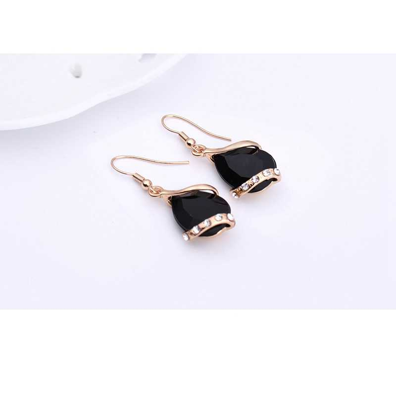 LAQ Black Crystal Earrings Necklaces Sets Gold Color Jewelry Sets for Women Geometric Design Wedding Jewelry