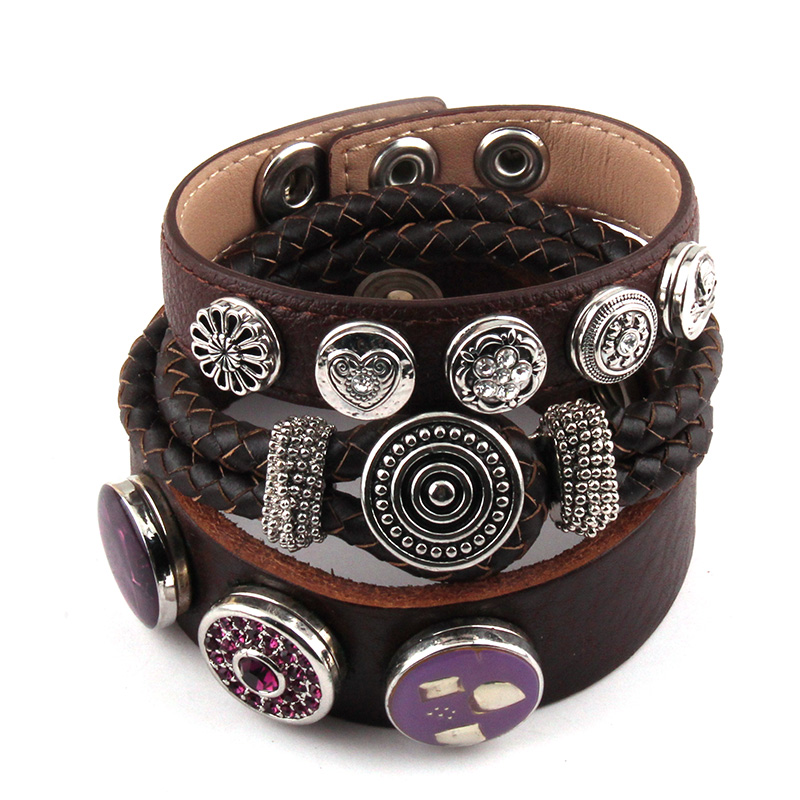 Us 7 5 44 Off New Arrival Fashion 3pc Set Metal On Dark Brown Leather Bracelets For Women Wrap Bracelet In From Jewelry