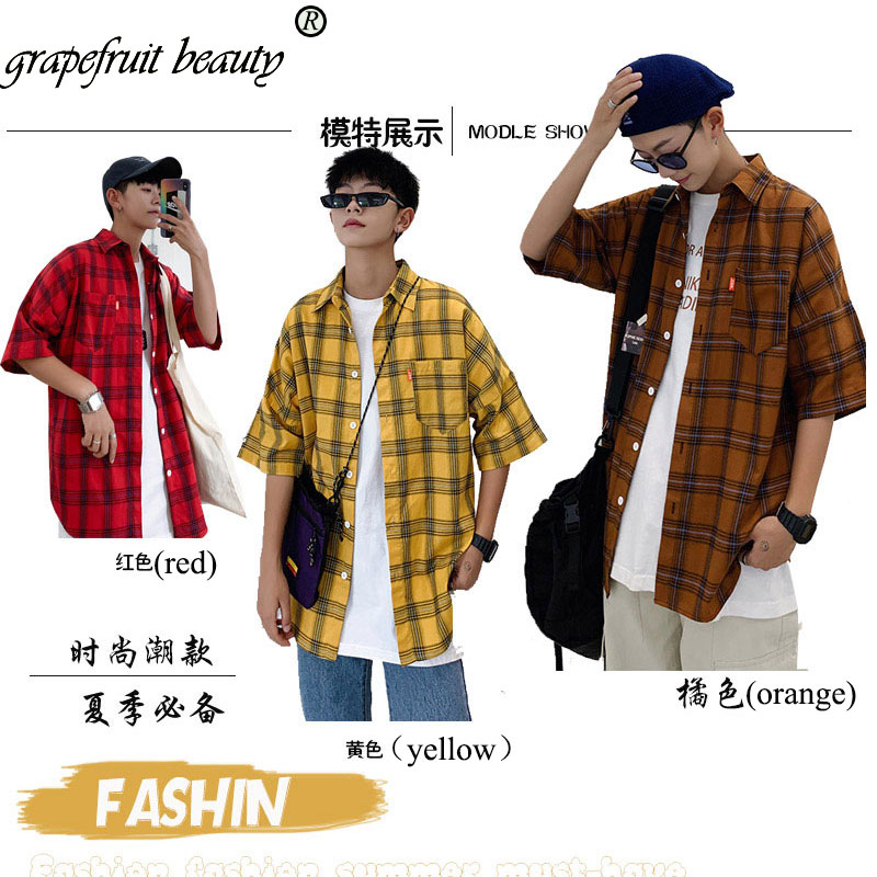 2019 Summer Cotton Men Plaid Shirt Half Sleeve Men's  Refreshing  Casual Shirts British Cotton Mens Check Shirt Plus Size M-5xl