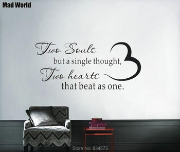 Two Souls But a Single Thought Hearts Beat As One Love Wall Art Sticker Wall Decal Home Decoration Removable Decor Wall Stickers