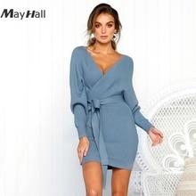 MayHall Autumn Winter Knitted Wrap Mini Dress High Waist Tie up Dresses Woman Solid Long Lantern Sleeve roupas feminina MH293