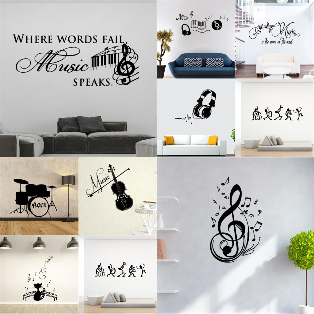 NEW Music Decorative Sticker Waterproof wallstickers for kids room decoration bar Home Decor Wall Decal wallpaper image
